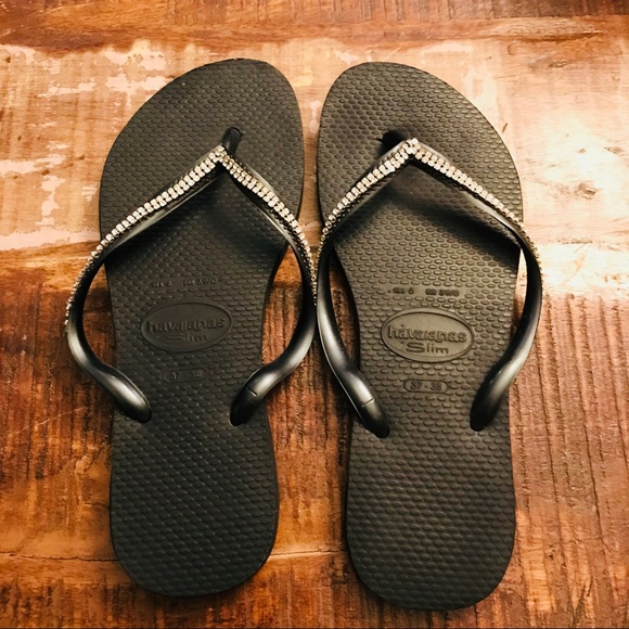 aad9ca936 Havaianas Shoes - Havaianas Swarovski Crystal Sandals Black Sz 37-38